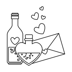 envelope with heart and bottles drink