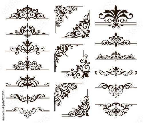 Ornaments Elements Floral Retro Corners Frames Borders