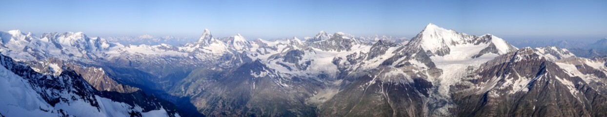 360 degree panorama view of the mountain above Zermatt  in the Alps of Switzerland