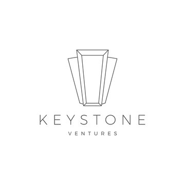 Keystone key stone logo vector icon illustration line outline monoline