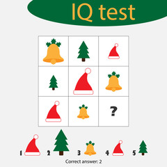 Choose correct answer, IQ test with christmas picturees for children, xmas fun education game for kids, preschool worksheet activity, task for the development of logical thinking, vector illustration