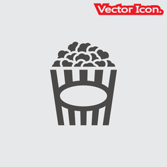 Popcorn icon isolated sign symbol and flat style for app, web and digital design. Vector illustration.