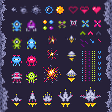 Retro space arcade game. Invaders spaceship, pixel invader monster and retro video games pixel art isolated objects illustration set
