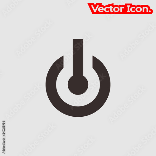 Power button icon isolated sign symbol and flat style for app, web