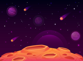 Space asteroid surface. Planet with craters surface, space planets landscape and comet crater cartoon vector illustration