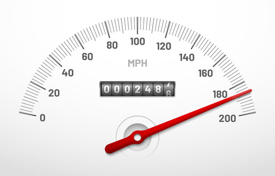 Car speedometer dashboard. Speed metre panel with odometer, miles counter and urgency dial isolated vector concept