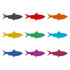 Fish simple flat icon or logo, color set