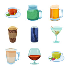 Isolated object of drink and bar sign. Set of drink and party stock symbol for web.