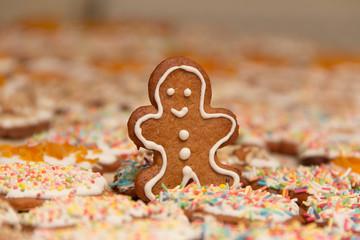 Pierniki świąteczne - Boże Narodzenie - ręcznie malowany ciastek na tle pierników