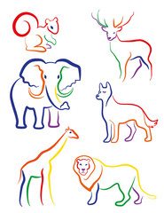 """Animals Set icons, a child's drawing, """"animals"""". Vector."""