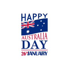 Typography festive banner for Australia Day. 26th January. Vector illustration.