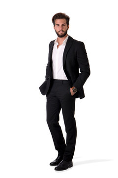 Full length shot of elegant young man with business suit