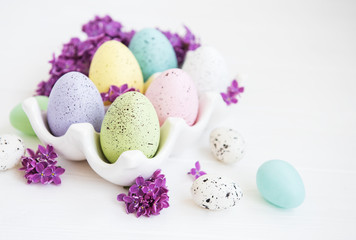 Easter eggs in tray