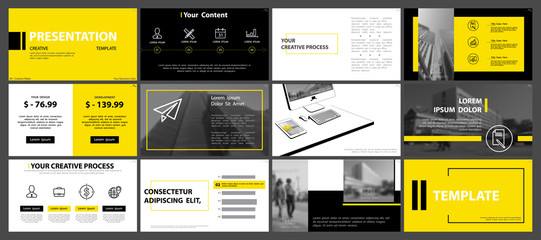 Yellow, black, presentation templates on a white background. Set, elements of infographics. Presentation, leaflet and flyer,corporate report, marketing, advertising, annual report, Vector, headline