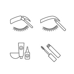Eyebrows shaping linear icons set