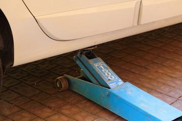 Blue hydraulic forklift
