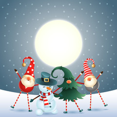 Scandinavian gnomes and snowman celebrate New year in front of magical moon - dark blue snowy background