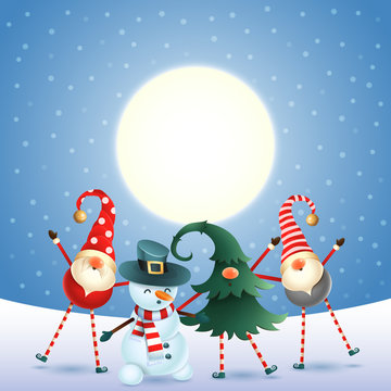 Scandinavian gnomes and snowman celebrate New year in front of magical moon -blue snowy background
