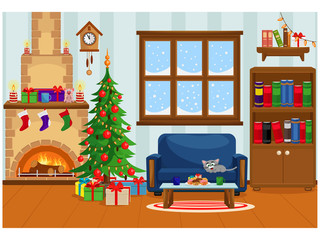 Vector illustration of a decorated room for Christmas and new year with a fireplace, Christmas tree, window, treats and gifts.