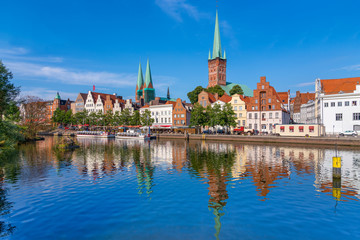 A view of the old town of Luebeck (German: Lübeck), Germany, across the river Trave.