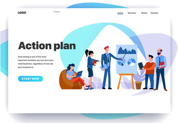 Web page design templates for teamwork, action plan, meeting. Modern vector illustration concepts for website and mobile website development Wall mural