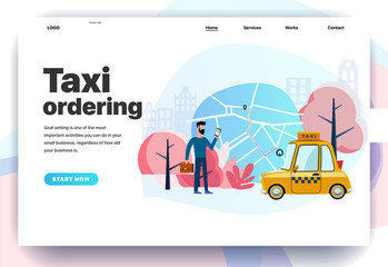 Web page design templates for taxi ordering, work in a taxi,  mobile app for a call taxi service. Modern vector illustration concepts for website and mobile website development