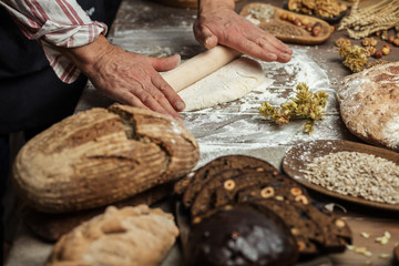 Different kinds of fresh bread, focaccia, typical Italian bread with crispy and very tasty crust and male hands rolling out dough for Italian pizza. Healthy eating and traditional bakery concept.