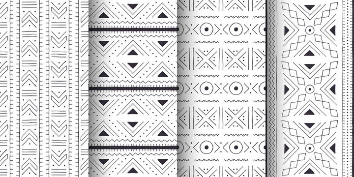 Set of white and black African seamless patterns.