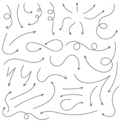 Arrows and abstract shapes doodle writing design vector set