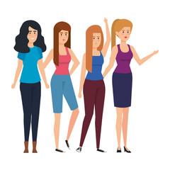 group of businesswomen avatars characters