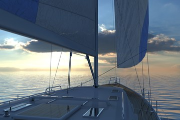 Sailing lboat at open sea towards sunset 3d illustration