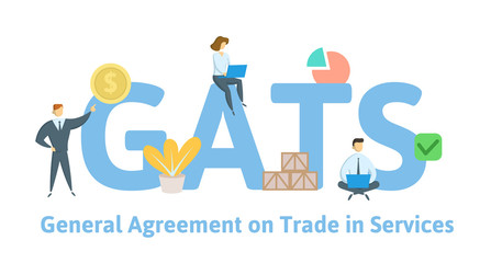 GATS, General Agreement on Trade in Services. Concept with keywords, letters and icons. Colored flat vector illustration. Isolated on white background.