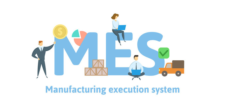 MES, Manufacturing execution system. Concept with keywords, letters and icons. Colored flat vector illustration. Isolated on white background.