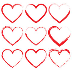 Abstract heart shapes set, chalk heart design