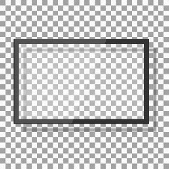 Empty led monitor of computer or black photo frame isolated on a transparent background. Vector blank frame screen lcd, plasma, panel or TV for your design
