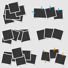 Big set of square vector photo frames stack on sticky tape. Vertical and horizontal template photo design