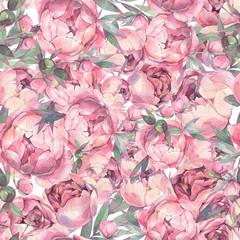 Seamless flowers pattern. Peonies background. Watercolor wallpaper.