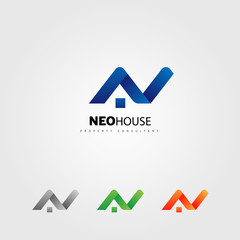 Letter Type N House Property Logo Sign Symbol Icon