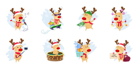 Bright deer set illustration. Deer in different poses. Can be used for topics like Christmas, winter, festivals, Happy New Year
