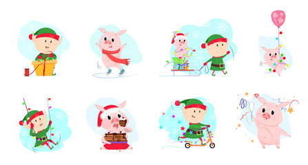 Bright elves and piglets set illustration. Elves and piglets in different poses. Can be used for topics like Christmas, winter, festivals, Happy New Year