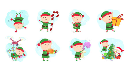 Christmas elves set illustration. Elves in different poses, emotions. Can be used for topics like Christmas, winter, festivals