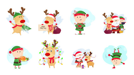 Deer and elves set illustration Deer and elves in different poses. Can be used for topics like Christmas, winter, festivals, Happy New Year