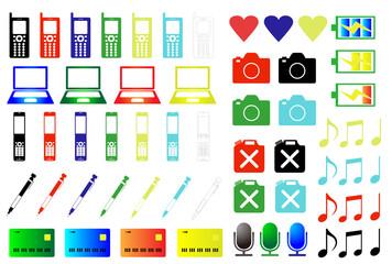 カラーアイコン素材 携帯電話 パソコン カメラ 電池 音符 マイク カード ペン ハート等