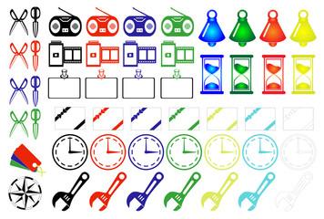 カラーアイコン素材 砂時計 時計 ベル はさみ レンチ 設定 フィルム カメラ ラジオ 通知等