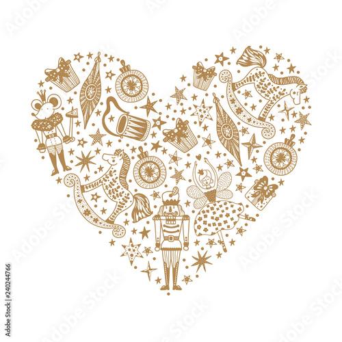 Christmas Heart Vector.Christmas Heart Gold Christmas Vector Card Magic Motif
