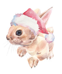Cute bunny in Christmas hat. Watercolor illustration.