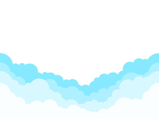 Printed kitchen splashbacks Light blue Blue sky with white clouds background. Border of clouds. Simple cartoon design. Flat style vector illustration.