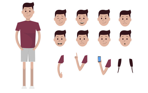 Male boy character creation constructor set. Full length, different views, emotions, gestures, isolated against white background. Build your own design. Cartoon flat-style infographic illustration