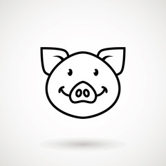 Pig line icon. logo Piglet face with smile in outline style. Icon of Cartoon pig head with smile. Chinese New Year 2019. Zodiac. Chinese traditional Design, decoration Vector illustration.