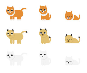 Different cute and funny cartoon cats set isolated on white background. Geometric forms. Simple flat style vector illustration.